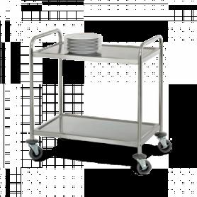 Desserte aluminium à 2 plateaux