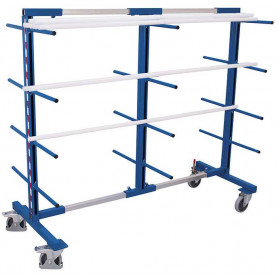 226~Rayonnage cantilever mobile double face