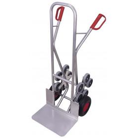 325~Diable escaliers aluminium avec 2 roues en étoiles à 5 roulettes