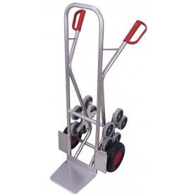 326~Diable escaliers aluminium avec 2 roues en étoiles à 5 roulettes