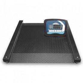 Plateforme extra-plate, portée max. 600 kg ou 1500 kg, précision 200 à 500 g.