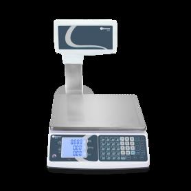 Balance poids-prix bi-echelon avec colonne, homologuée, portée max. jusqu'à 30 kg, précision 5 g