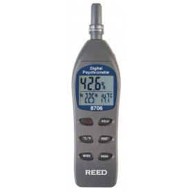 REED 8706 Psychromètre/thermo-hygromètre numérique, thermomètre humide, rosée, température, humidité