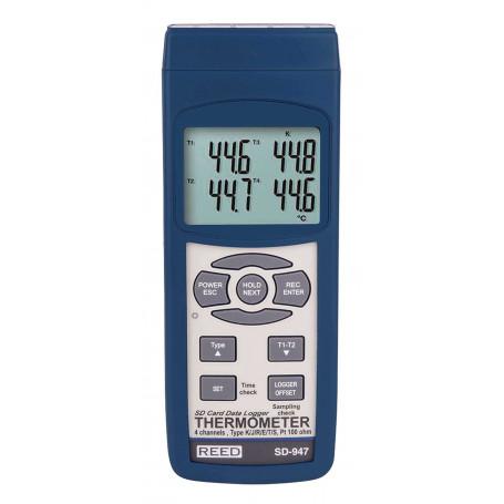 REED SD-947 Thermomètre thermocouple à 4 canaux/enregistreur de données