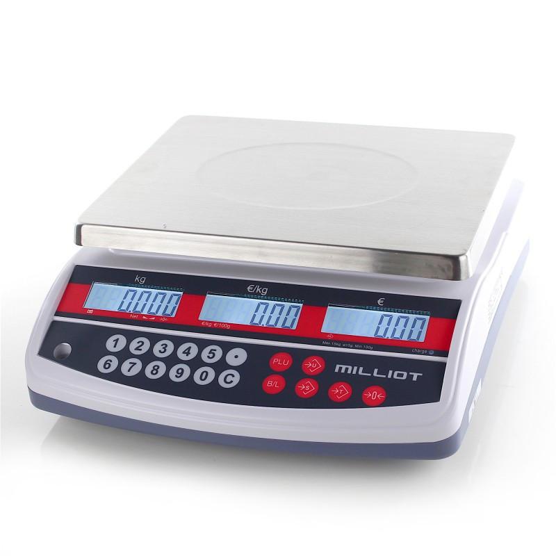 Robuste balance de commerce, grand plateau, portée max. jusqu'à 15 kg, précision 5 g