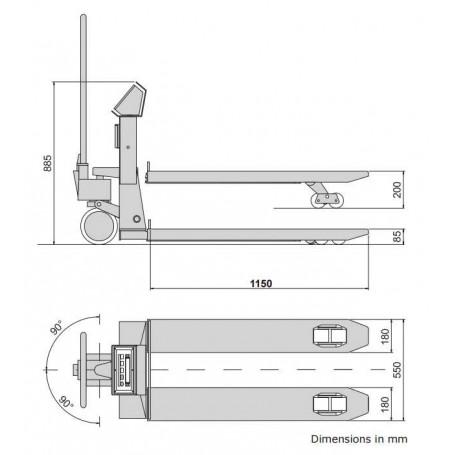 Transpalette multi-échelon avec imprimante TPWA
