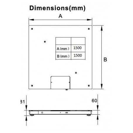 Plateforme au sol 1500x1500 mm TF-1515