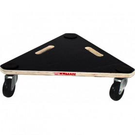 Plateau roulant triangulaire en bois, charge 200 kg