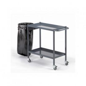 Servante à 2 ou 3 plateaux avec collecteur de déchets, charge 150 kg